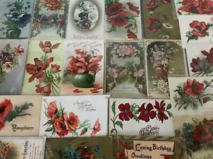 Colorful-Lot-of-25-POPPIES-VINTAGE-POPPY-FLOWERS-floral-GREETINGS-POSTCARDS-a480