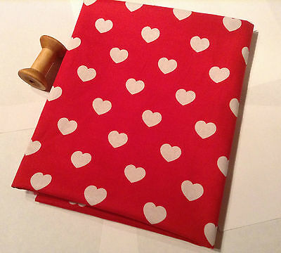 HEARTS 100% Cotton Poplin Fabric Material heart print -55 inches/140cm wide by M