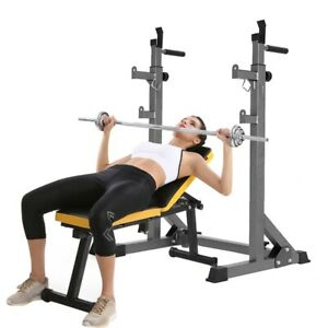 adjustable barbell rack weight lifting bench press squat
