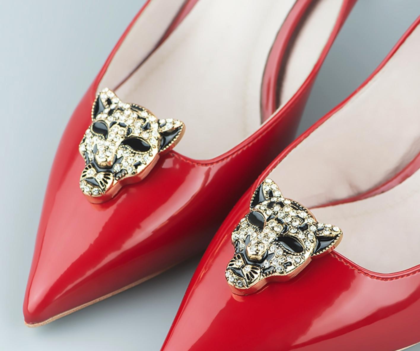 2 Pcs Vintage Style Metal Gold Leopard Buckle Wedding Shoe Clips Pair