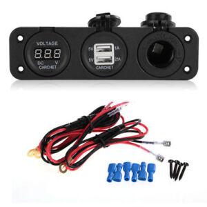 Carchet-Auto-Moto-LED-Voltmetro-2-Caricabatteria-USB-Presa-Accendisigari