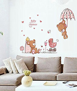 wandaufkleber wandtattoo wandsticker wanddeko baby b ren blumen kinderzimmer ebay. Black Bedroom Furniture Sets. Home Design Ideas