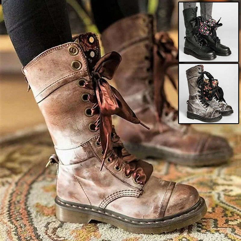 Floral Inside Boots Winter Women's Warm Flap Mid Calf Ankle shoes Martin Vintage