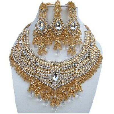 Gold Plated Handmade Kundan Zirconic Bollywood Necklace Set Earring Tika Jewelry