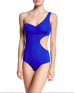 SAHA ONE SHOULDER CUTOUT ONE PIECE SWIMSUIT DARK blueE SOLID X SMALL NEW