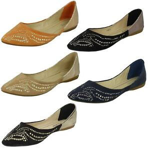 Ladies Spot On Flat Pointed Toe Studded Design 'ballerina' Spezieller Sommer Sale Halbschuhe & Ballerinas