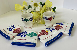 Vintage Boch Boerenbont 2 Egg Cup Holders And 4 Egg Cover ...