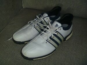 Gently Used Adidas Boost 360 Tour Men S Size 10m White Navy Golf Shoes Ebay