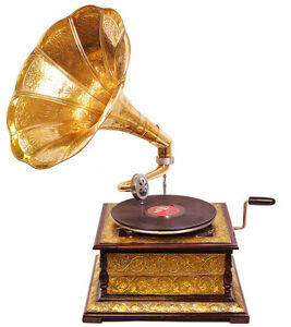 Grammophon Trichter Gramofon Doppelfederlaufwerk 78-er Phonograph Gramophon