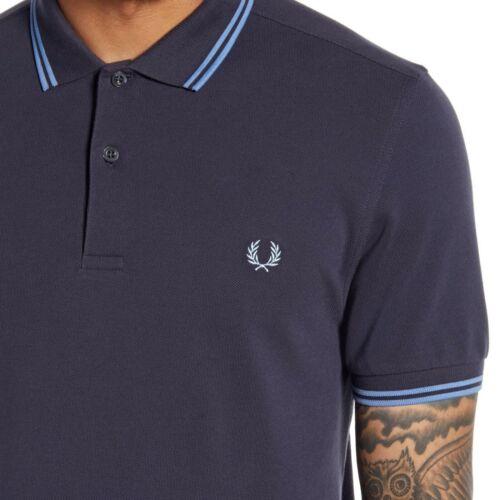 Fred Perry Men/'s Short Sleeve M3600 Twin Tipped Polo Shirt Graphite//Sky//Sky