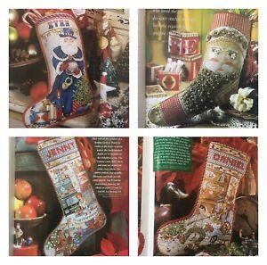 Cross-Stitch-Magazines-Lot-of-6-Stocking-Holiday-Christmas-Needlework-Patterns