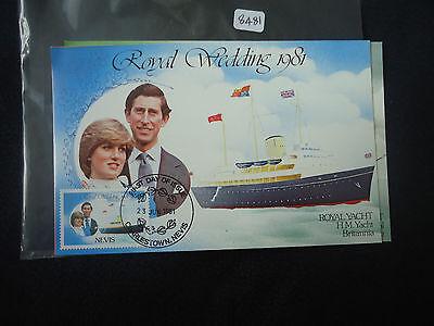 nevis 1981 royal wedding set 3 postcards FDI