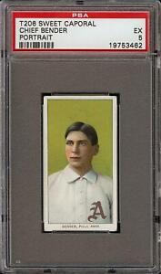 Rare-1909-11-T206-HOF-Chief-Bender-Sweet-Caporal-150-Philadelphia-PSA-5-EX