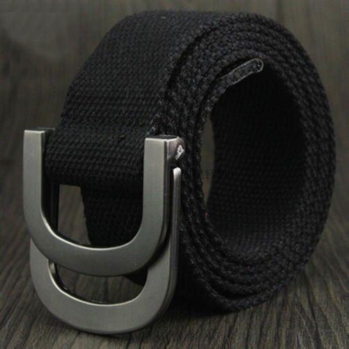 Herren Damen Leinengürtel Gurtband D-Ring Schnalle Gewoben Militär Armee Bund