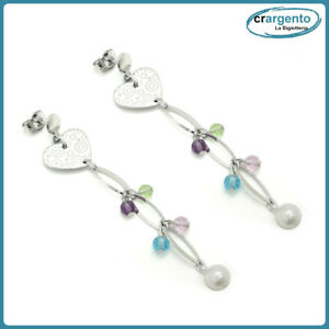 orecchini colorati donna pendenti bigiotteria con perle cuore in da a pendente