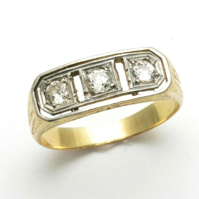 Vintage 3 stone Diamond Ring 14k yellow & white gold Ring band Antique 2 tone