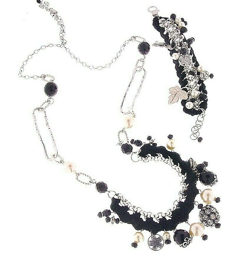 Set Parure Necklace + Bracelet, Swarovski and Crystals Charms, With Merino Wool