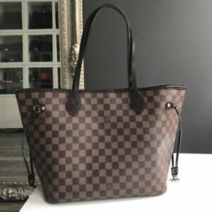 MINT-EUC-AUTHENTIC-Louis-Vuitton-Neverfull-MM-Damier-Ebene-Canvas-Red-Interior