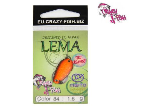 Einzelhaken Forelle 2,2 cm 1,6 g Crazy Fish Forellenblinker LEMA Barsch