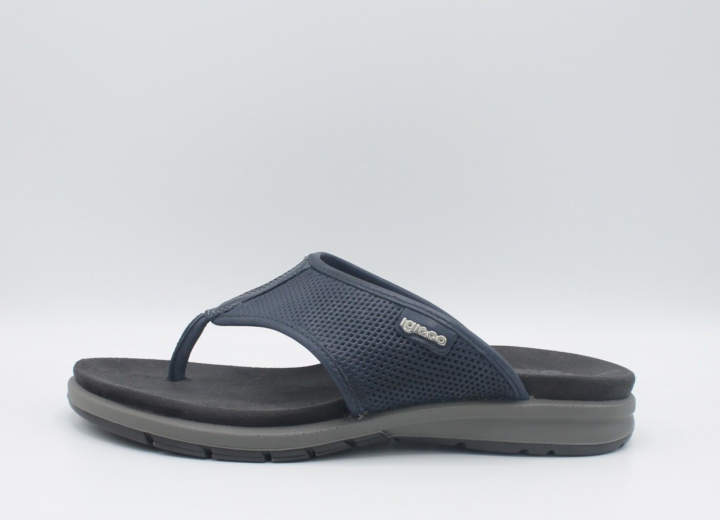 IGI & CO. UEA 1128911 Sandals man flip-flops quilted leather smooth bluee