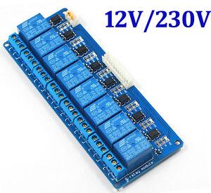 8 kanal 12v 230v relais modul mit optokoppler f r arduino. Black Bedroom Furniture Sets. Home Design Ideas