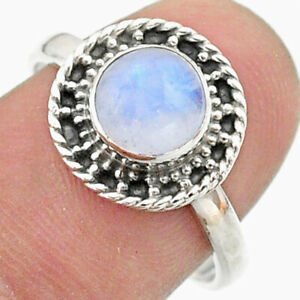 925 Silver 2.56cts Solitaire Natural Rainbow Moonstone Ring Size 8.5 T41339