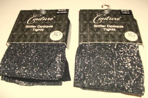 """FREE P/&P New Couture Glitter Opaque  Sparkle Tights  Medium /& Large up To 48/"""""""