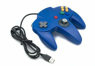 NINTENDO 64 N64 GAMES CLASSIC GAMEPAD CONTROLLERS FOR USB TO PC/MAC BLUE