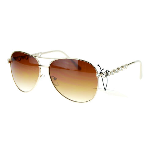Womens Rhinestone Heart Temple Celebrity Aviator Sunglasses