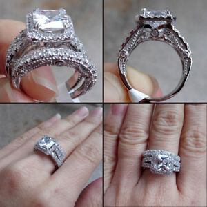 3 50 Ct Halo Princess Cz Engagement Wedding Ring Set 925 Sterling