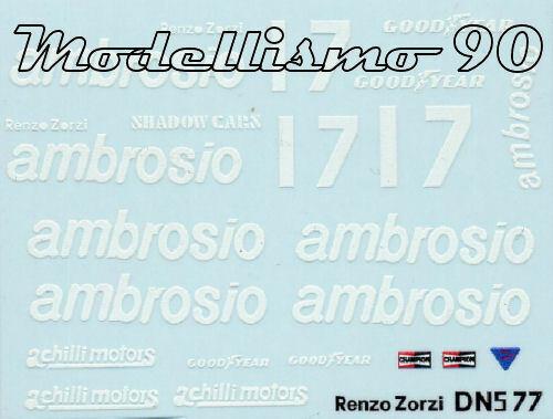 "Decal 1//43 Shadow DN5B F.1 Ford #17 /""Ambrosio/"" Brazilian GP 1977 Renzo Zorzi NEW"