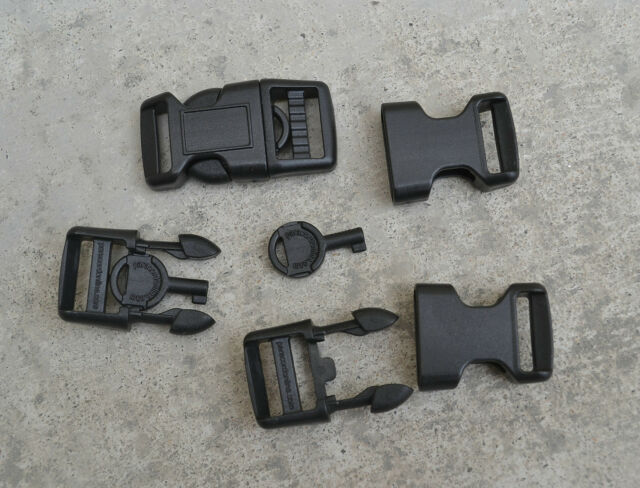 """2pcs Black Plastic Hand Cuff Key Buckles 5/8"""" Curved Buckle Side Release"""