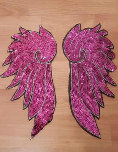 HOTFIX sequin purple wing embroidered lace applique motif patch costume