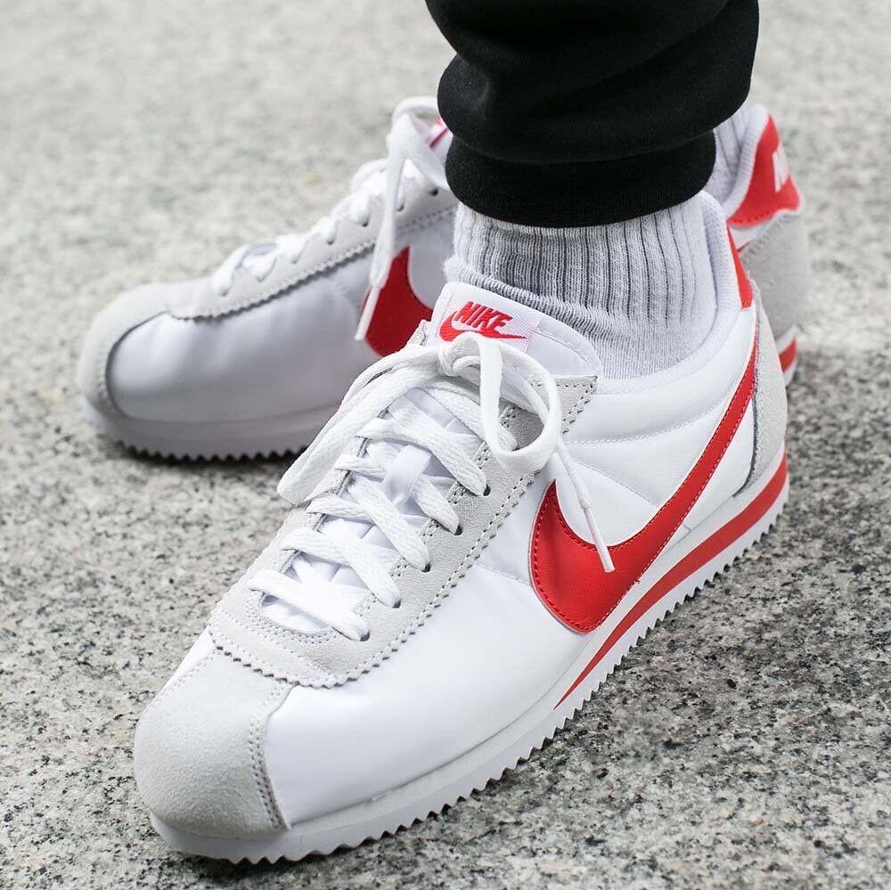 new product 42efe 4c32b Nike Classic Cortez Cortez Cortez Nylon rot Weiß Uk Größe 8 Eur 42.5  807472-101 7f69ce