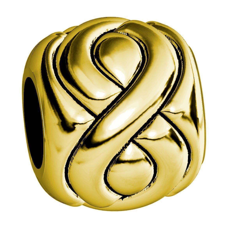 Embossed Full Infinity Symbol Charm Bracelet Bead in 14K Yellow gold