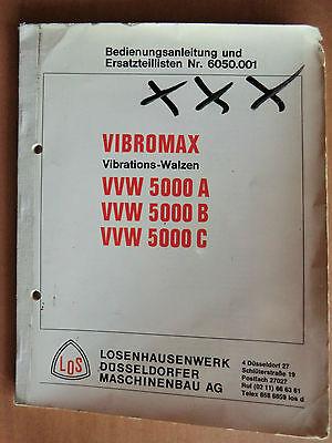 Baugewerbe Business & Industrie Ausdrucksvoll Betriebsanleitung Ersatzteilliste Vibromax Walzen Vvw 5000 A B C Losenhausen Letzter Stil