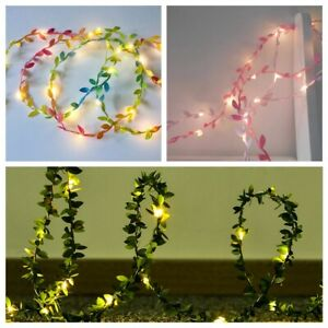 2M 20 LED Green Leaves Copper Wire Fairy String Light Lamp Garland Party Decor