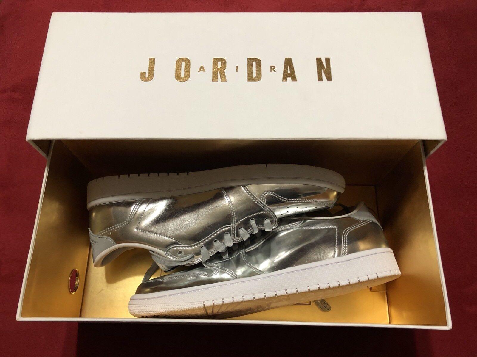 Jordan Retro 1 bajo Pinnacle Para Para Para Hombre 9 Plata Metálica 0beee4