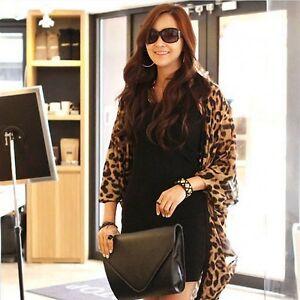 Leopard-Print-Batwing-Sleeve-Cape-Tunic-Chiffon-Cardigan-Lady-Tops-Shawl-K30A