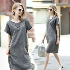 Summer Women Lady Casual Loose Cotton Linen Solid Gray A-line Tunic Shirt Dress