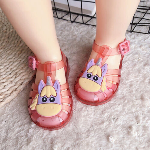 Children Kids Girls Unicorn Flat Jelly Shoes Summer Holiday Sandals Shoes Size