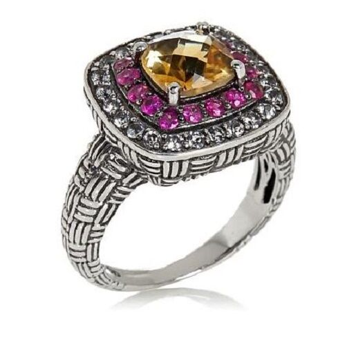 Hilary Joy 1.78ct Citrine, Pink Sapphire and White Topaz Sterling Ring Size 7