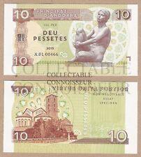 Andorra 10 Pesetas Pessetes 2015 UNC SPECIMEN Test Note Banknote - w/ Dry Seal