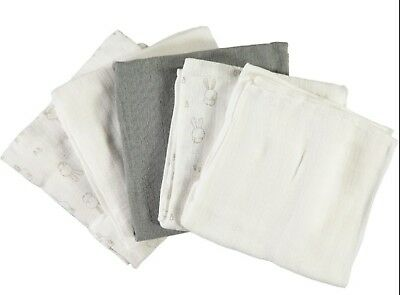 Name It ♦ 5er Pack Mullwindeln ♦ Frost Grey Hasen 70x70cm Neu Refreshing And Beneficial To The Eyes Baby Bibs & Burp Cloths