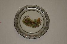 """Vintage German Deer Pewter Plate Rein Zinn Round 4 1/2"""""""