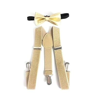 Gold suspenders and gold bow tie for boys kids babies