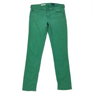 Adriano-Goldschmied-AG-Stevie-Ankle-Slim-Straight-Ankle-Green-Denim-Jeans-Sz-28
