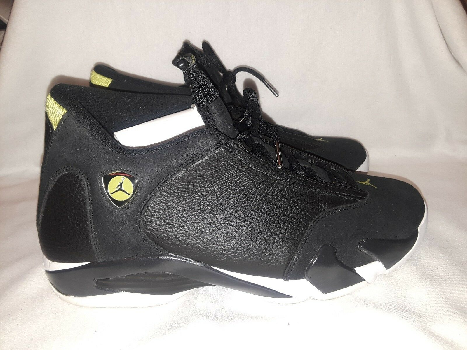 Men Air jordan 14 Retro 487471-005 shoes Black White Vivid Green Size 13