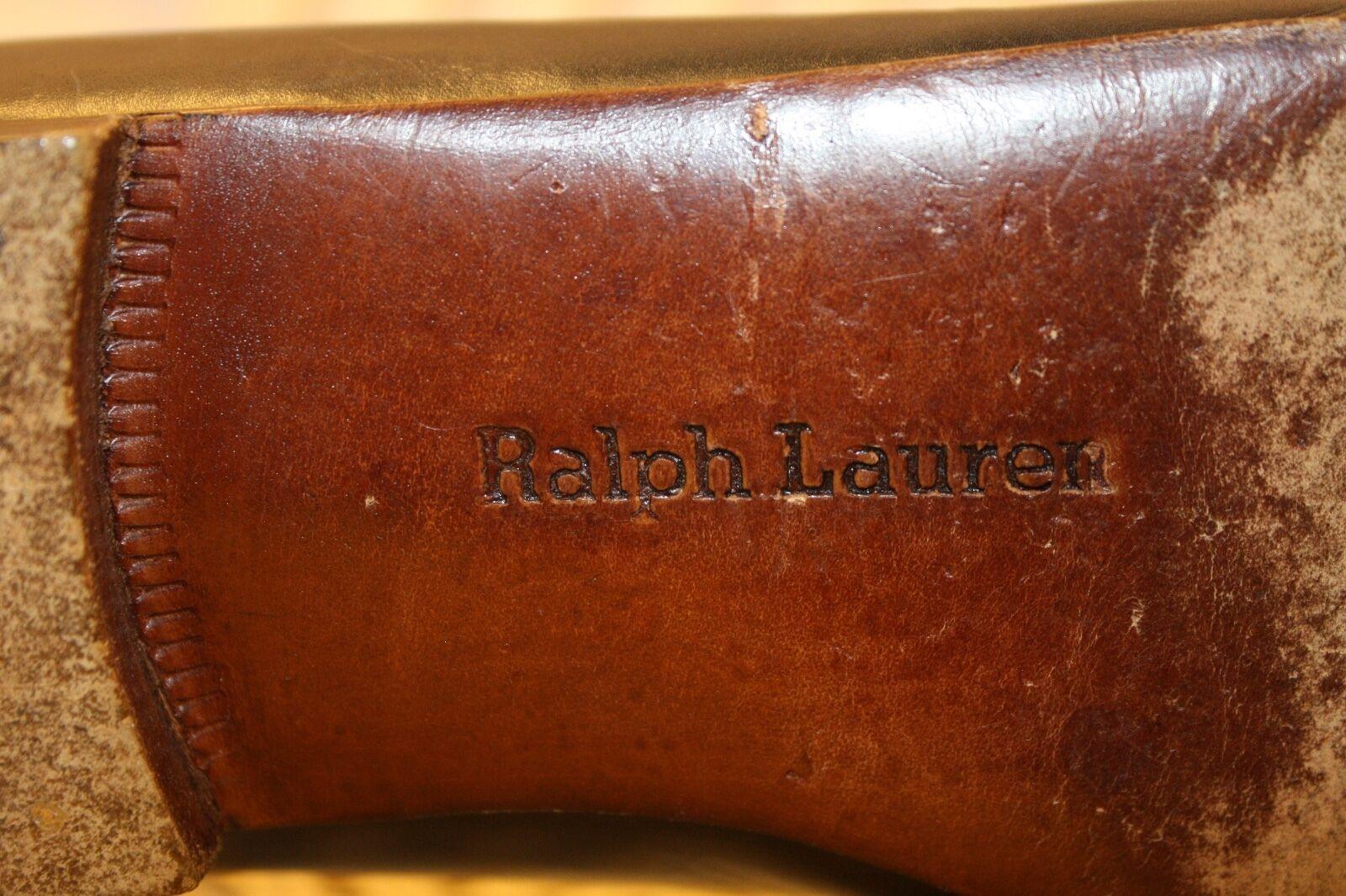 RALPH RALPH RALPH LAUREN 80's Navy bluee Leather Military Nautical Flats Loafers 5.5B ITALY 14eca0