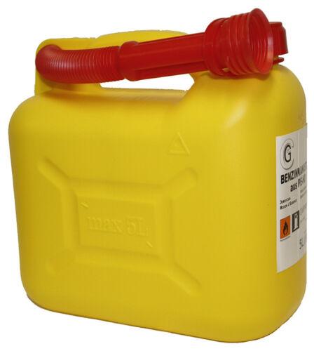 3 x Benzinkanister 5 Liter Gelb Kraftstoffkanister Kunststoff Reservekanister
